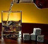 KISENG 9Pcs Whiskey Stones Rocks Ice Cubes Velvet Bag Whisky Rocks Beer Ice Stone