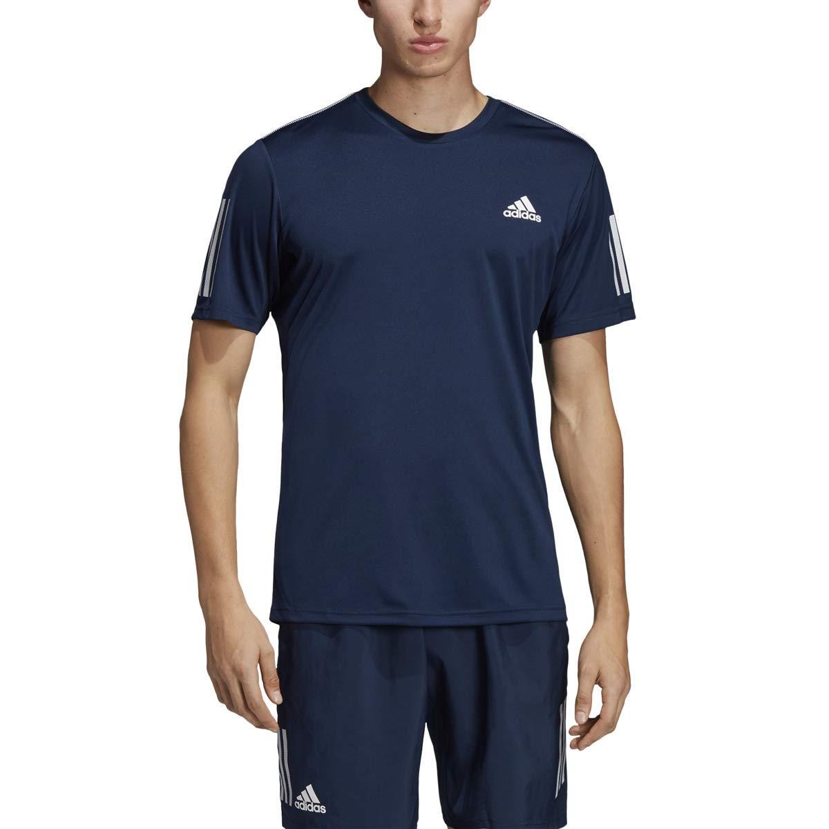 adidas Men's 3-Stripes Club Tennis Tee, Collegiate Navy/White, X-Small