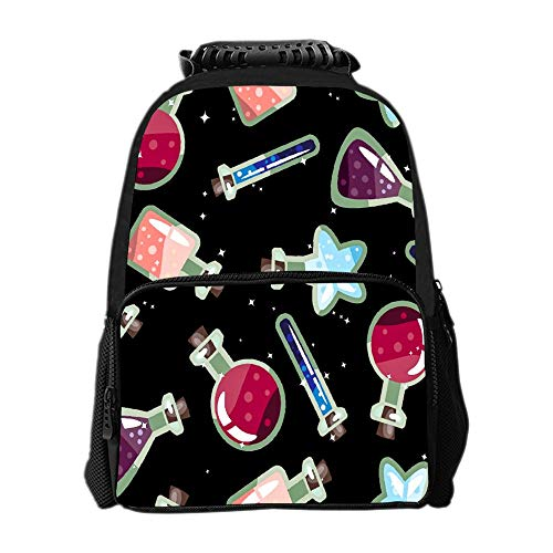 SARA NELL Halloween Potion Bottle Pattern Kid Backpacks for Boys and Girls with Chest -