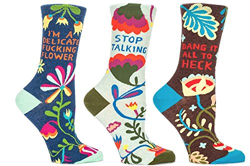 Ladies Gift Socks Set (Blue Q Socks, Women's Crew Gift Set Collection (Purty Flower Collection))