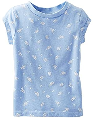 Baby Girl S/S Light Blue Flower Print Tee