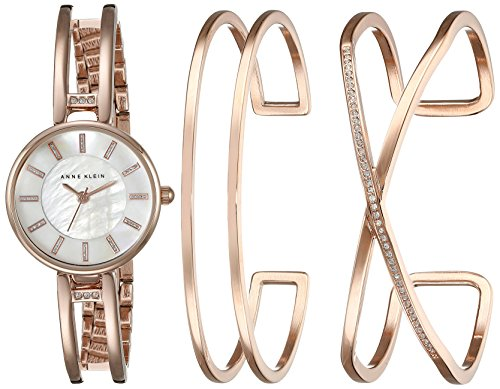 Anne Klein Women's AK/2236RGST Three-Piece Watch and Bracelet Set with Swarovski Crystal Accents