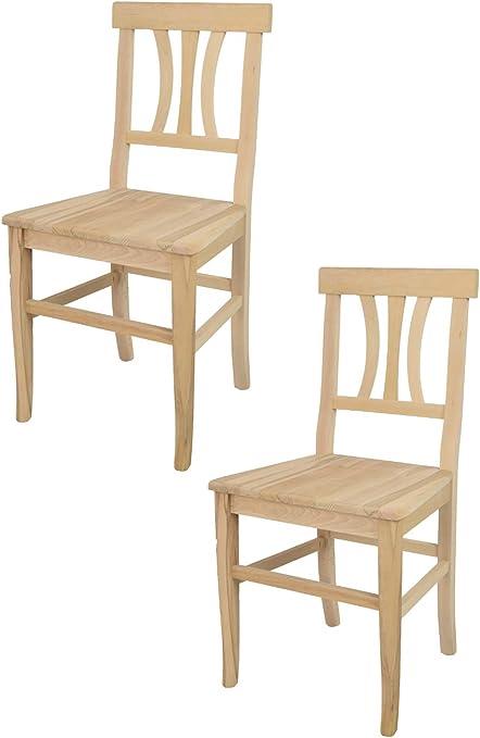 tmcs Tommychairs Set 2 sedie Classiche Artemisia per Cucina, Bar e Sala da Pranzo, con Robusta Struttura in Legno di faggio Levigato, Non trattato,