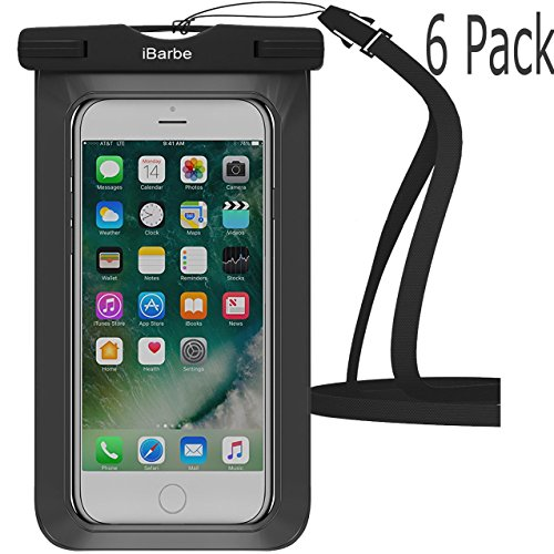 Waterproof Case,6 Pack iBarbe Universal Cell Phone Dry Bag Pouch Underwater Cover for Apple iPhone 7 7 plus 6S 6 6S Plus SE 5S 5c samsung galaxy Note 5 s8 s8 plus S7 S6 Edge s5 etc.to 5.7 inch,Black - Mouse Pad Kayak