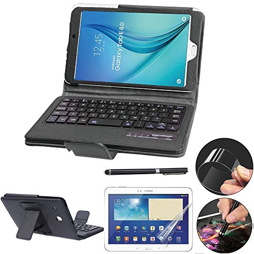 Galaxy Tab E 8.0 Keyboard Case with Screen Protector & Stylus, REAL-EAGLE Slim Separable Fit PU Leather Case Cover Wireless Keyboard for Tab E 8.0 Inch T375 T377 T377V / SM-T377 4G LTE,Black (Samsung Galaxy Tab E Case With Keyboard)