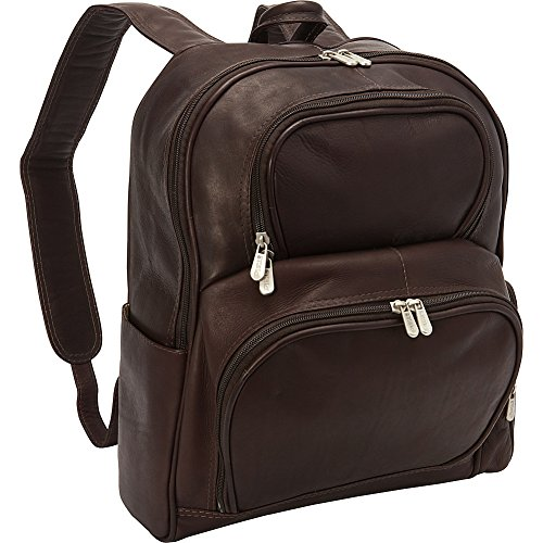 Piel Leather Side Zip Backpack - Piel Leather Half-Moon Laptop Backpack, Chocolate
