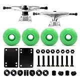 VJ Skateboard Combo 5' Trucks Silver, 52mm Skateboard Wheels, Abec7 Bearings, Screws, Riser Pads, Spacers (Neon green wheels)