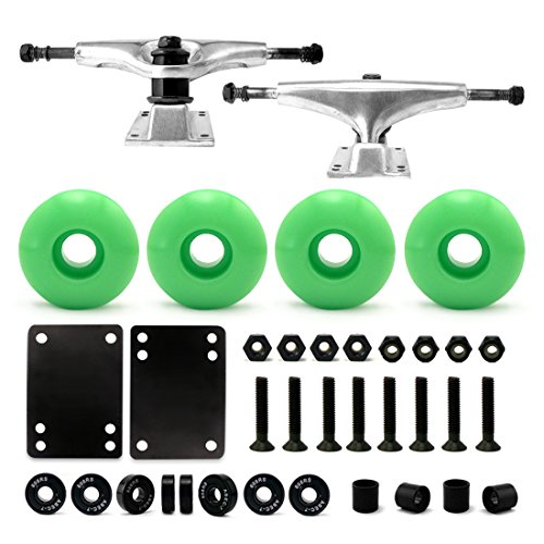 "VJ Skateboard Combo 5"" Trucks Silver, 52mm Skateboard Wheels, Abec7 Bearings, Screws, Riser Pads, Spacers (Neon green wheels) (Parts Skateboard)"