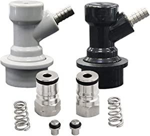Ball Lock Quick Disconnect 1/4 Barb Set with Cornelius Keg Post for Home Brewing and Wine Making Beer Keg Kegging by PERA