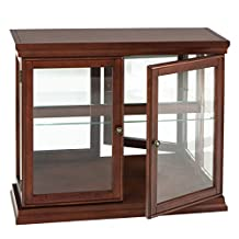 Southern Enterprises Mahogany Curio Cabinet with Double Tempered-Glass Doors