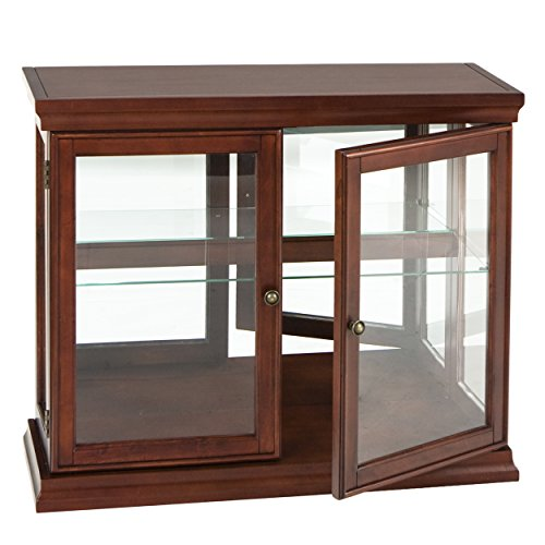 - Double Door Curio w/ Mirror Back Wall - 2 Fixed Shelves - Chic Style Mahogany Finish