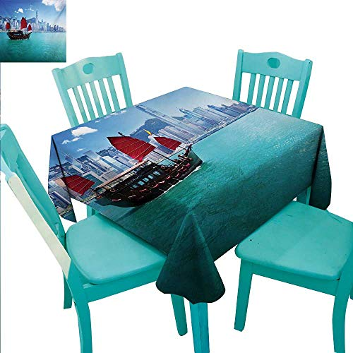Ocean Square Polyester Tablecloth Hong Kong Harbour Small Traditional Junk Boat With Flags Buildings Skyline and Sea Washable Polyester - Great for Buffet Table, Parties, Holiday Dinner, Wedding & Mo