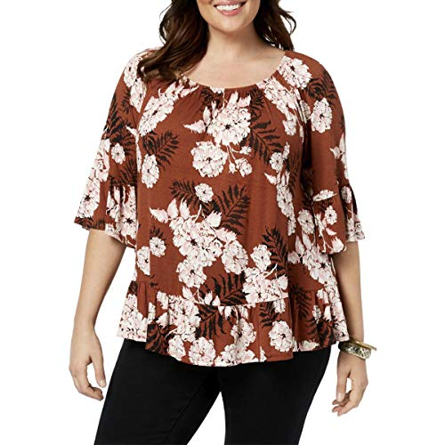 (Style & Co. Womens Plus Floral Print Ruffled Hem Pullover Top Brown 2X)
