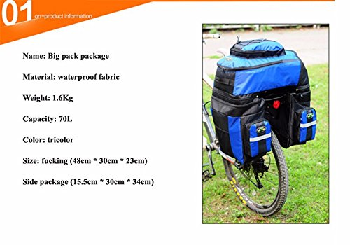 65L Waterproof Cycling Bag Bicycle Rack Bag Long Journey Luggage Mountain Bike Pannier Cycling Bags +Rain Cover (Blue) by WenZi (Image #1)