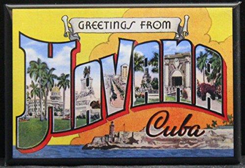 Postcard Magnet - Greetings from Havana Vintage Postcard Refrigerator Magnet. Cuba