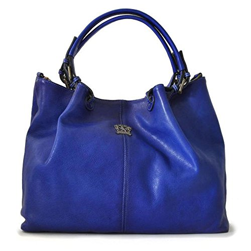 Shoulder Aged Italian Bag Leather Bucket Blue Pratesi Hobo Handbag 05YxdqvYwU