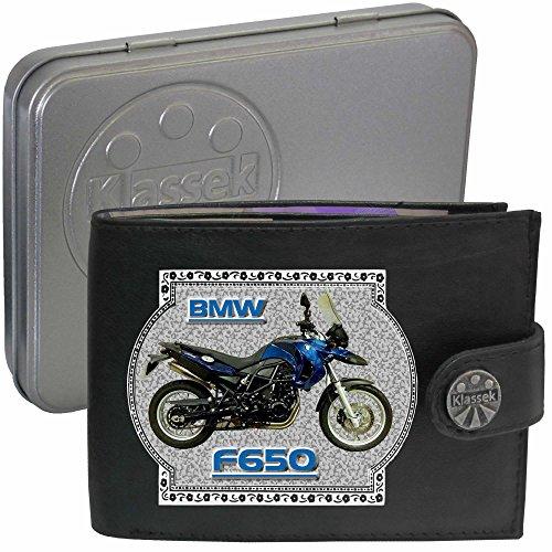 BMW F650GS Motorrad Zubehör Bike Klassek Herren Geldbörse Portemonnaie Brieftasche aus echtem Leder schwarz