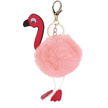 Llavero de flamenco con colgante de muñeca de peluche de ...