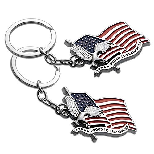 (Lot of 2 USA US Proud to be American Flag & Eagle Patriotic Medal Keychain Ring - 2pcs)
