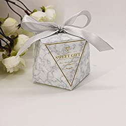 AimtoHome Diamond Candy Box Diamond Style Design for Wedding Baby Shower Birthday Party Supplies Favor Box Party Favors Pack of 50