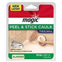 """Magic 3018 Tub, Wall Peel & Stick Caulk, Almond, 1-5/8"""" x 11'"""