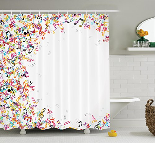 "Ambesonne Music Shower Curtain, Colorful Musical Notes with Frame Festival Singing Enjoyment Fashion Themed Print, Cloth Fabric Bathroom Decor Set with Hooks, 84"" Extra Long, White Yellow"
