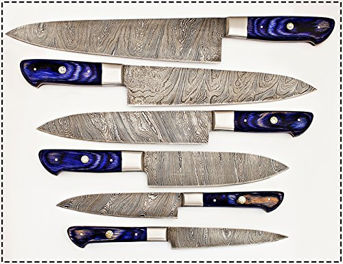 ZE 06 Pc's Custom Damascus Steel kitchen knife set 1071 (Purple)