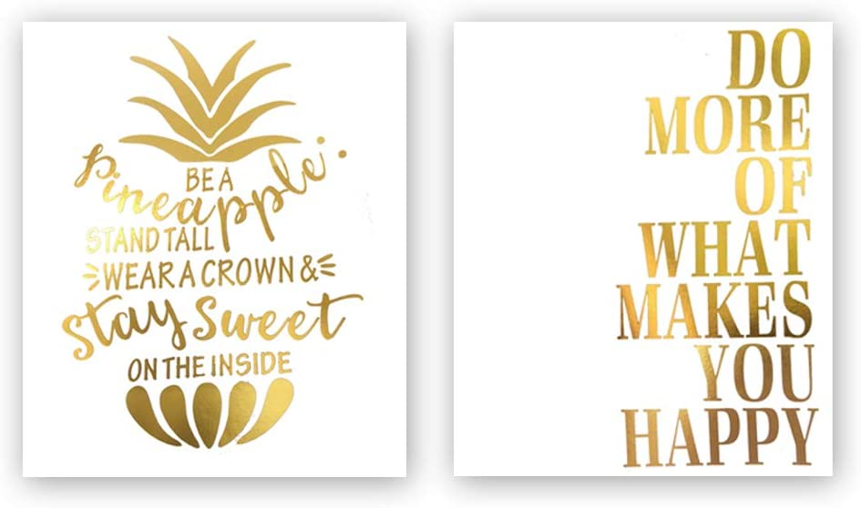 Sanrx Pineapple&Inspirational Lettering Quote Gold Foil Print, Modern Nordic Tropical Fruit Cardstock Wall Art Print Motivational Poster Living Room Decor (8 X 10 inch, Set of 2, UNframed)