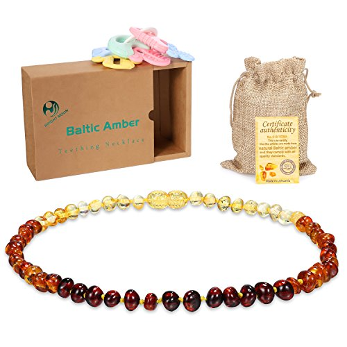 Rainbow Baltic Amber Teething Necklace - (Unisex) Smooth Transparent For NewBorn Baby Anti Flammatory, Drooling Teething Pain Reduce Properties Including Natural Certificated, Birthday Gift by Bright moon