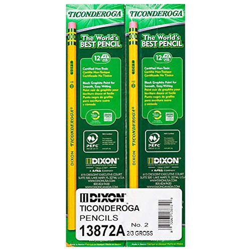 Dixon Ticonderoga Wood-Cased Graphite Pencils, 2 HB Soft, Yellow, 290 Count (13872) (290 Count) (Yellow, 290 Count) by Dixon (Image #2)