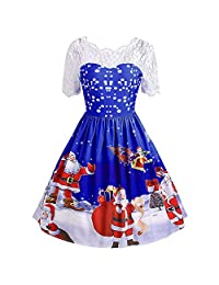 UNBRUVO Dresses for Women Merry Christmas Vintage Santa Claus Print Party Dress