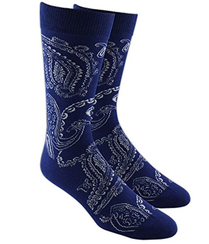 The Tie Bar Platform Paisley Navy Men's Cotton Blend Dress Socks