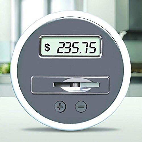 Digital Coin Bank Savings Jar by Digital Energy – Pennies Nickles Dimes Quarter Half Dollar Change Counter | Clear Jar…