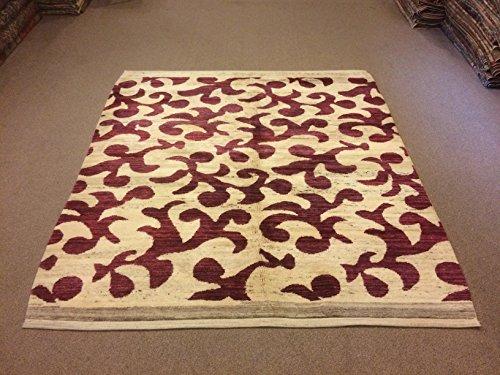 6.3x6.11 Feet Leaf Design Claret Red And Cream Wool On Wool Handmade Rug Modern Rug Code:D599