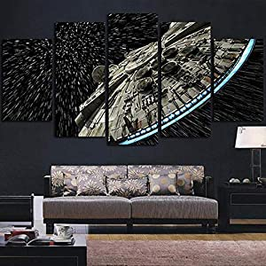 WTTLMAL Art Wall Canvas Paintings Modular 5 Panel Movie Star Wars Pictures Prints Cuadros Modern Style Living Room Decoration-30X40 30X60 30X80Cm-Frameless