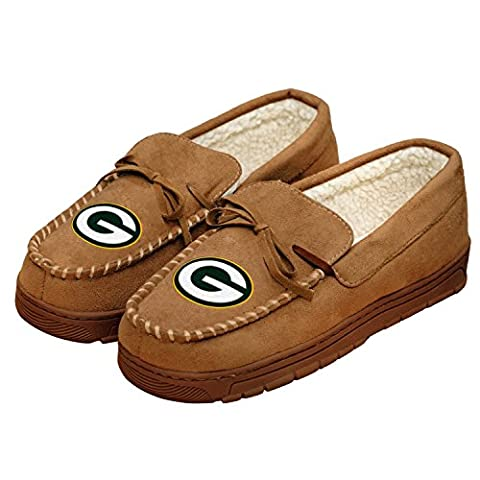 NFL Football Mens Team Logo Moccasin Slippers Shoe - Pick Team (Green Bay Packers, Small) - Green Bay Packers House