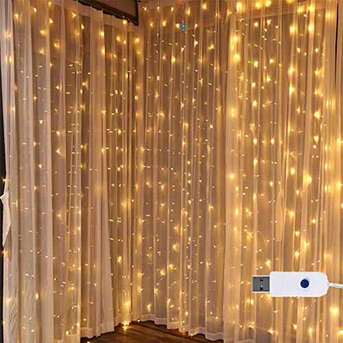 Window Curtain String Light, 300 LED USB Fairy Lights IP67 Waterproof 10ftx10ft Indoor String Lights for Wedding Party Home Bedroom Canopy Garden Patio Outdoor Indoor Wall Decorations(Warm White) ()