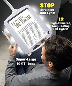 Lighted Full Page Magnifier Comes on Free Standing Goose Neck Stand