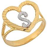 10k Two Tone Gold 1.36cm Fancy Script Letter S Beautiful Heart Initial Ring