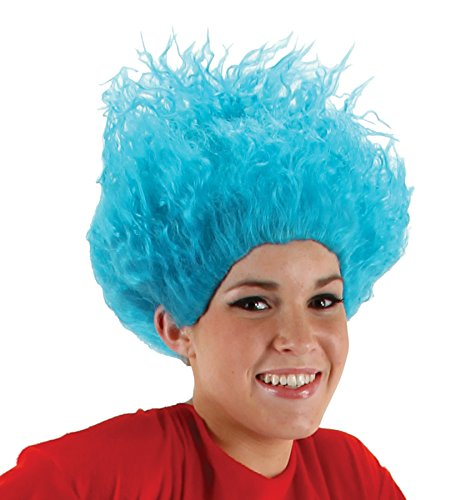 [UHC Dr Seuss Character Thing 1 & 2 Fluffy Blue Wig Christmas Costume Wig] (Thing 1 Thing 2 Halloween Costumes)