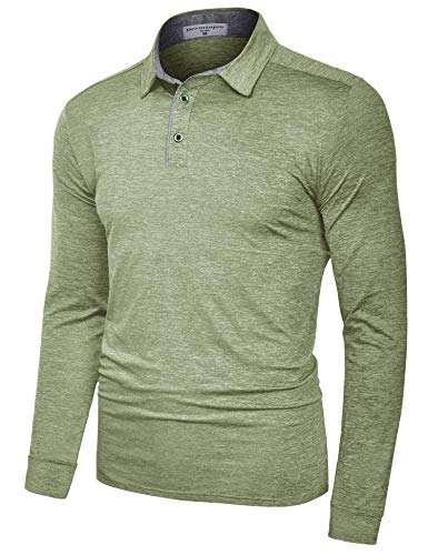 Derminpro Men's Golf Polo Shirts Long Sleeve Quick Dry Performance Athletic T-Shirts Army Large