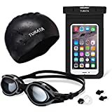 Swimming Kit - TURATA Summer Sports Kit Swimming Complete Bundle, Best for Aquatics, Swimming, Diving [1 Swimming Goggles, 1 Swimming Cap and 1 Waterproof Case Included]