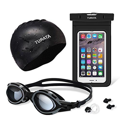 TURATA Swimming Summer kit,Waterproof Bags Case,Silicone Swim Cap, Swimming Goggles Earplugs, Nose Clips Anti Fog...