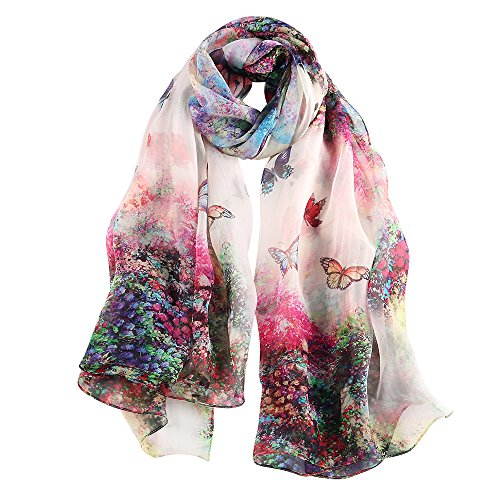 STORY OF SHANGHAI Women's Mulberry Flower Print Soft Large Silk Scarf Wraps 68*43 Inches (HS20)