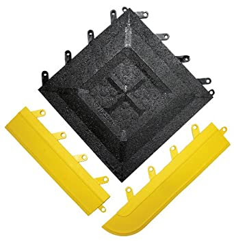 """Wearwell PVC 543 FIT Functional Interlocking Anti-Fatigue Gritted Tile, Solid, for Wet Areas, 12"""" Width x 12"""" Length x 5/8"""" Thickness, Black (Pack of 20)"""
