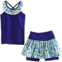 LittleSpring Little Girls' Shorts Set Summer Flower Sleveless