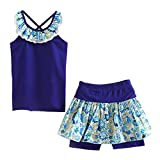 LittleSpring Little Girls' Shorts Set Summer Flower Sleveless Size 7(tag140) Blue