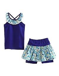 Little Spring Little Girls' Shorts Set Summer Flower Sleveless