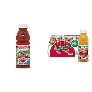Tropicana Juice, Strawberry Kiwi, 10 Ounce (Pack of 15) & Apple Juice, 10 oz., 24 Count