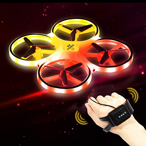 SIX FOXES Hand Operated RC Drones for Kids, Gravity Sensor Hand Drone RC Quadcopter Helicopter, LED Mini Aircraft Drone Toy Included 2 Drone Battery, Gifts for Birthday, Christmas, Children' Day